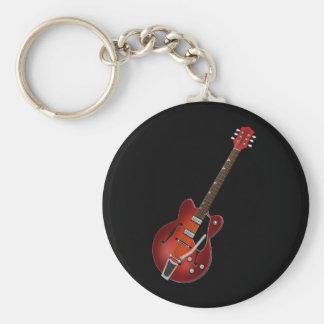 Het Holle Lichaam van de Zonnestraal van de gitaar Basic Ronde Button Sleutelhanger