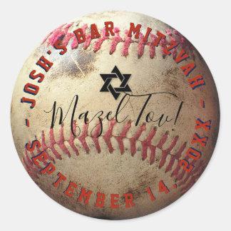 Het Honkbal Mitzvah van PixDezines Ronde Sticker