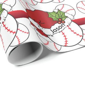 Het Honkbal   van Kerstmis van het Pet van de Inpakpapier