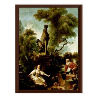 """Het hoofd"""" door Fragonard Jean Honoré (Beste Briefkaart"""
