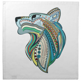 Het hoofd etnische ornament van de wolf katoenen servet