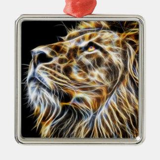 Het Hoofd Gloeien Fractalius van de leeuw Zilverkleurig Vierkant Ornament