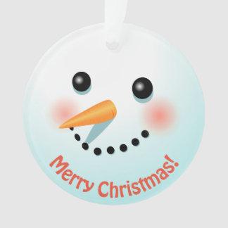 Het Hoofd van de leuke die Sneeuwman met Uw Tekst Ornament