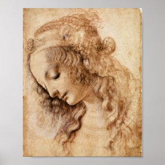 Het Hoofd van de vrouw door Leonardo da Vinci Poster
