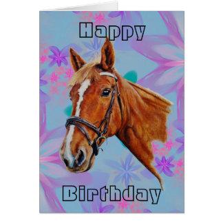 Het hoofd van het paard op bloemen Gelukkige Briefkaarten 0