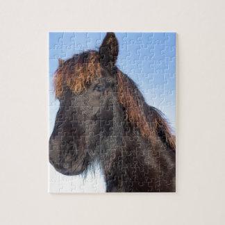 Het hoofd van het portret van zwart paard Frisian Foto Puzzels