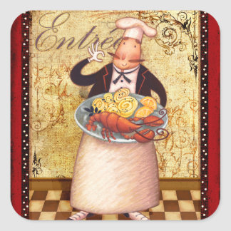 Het Hoofdgerecht van de chef-kok Vierkante Sticker