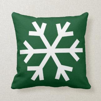 Het hoofdkussen van de sneeuwvlok - groen bos sierkussen