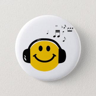Het houden van van de muziek smiley ronde button 5,7 cm
