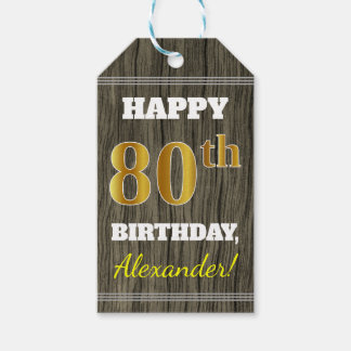 Het Hout van Faux, Gouden 80ste Verjaardag Faux + Cadeaulabel