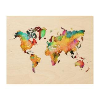het houten art. van de wereldkaart hout afdruk