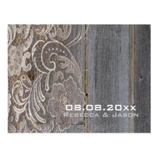het houten huwelijk van het kant westerne land briefkaart