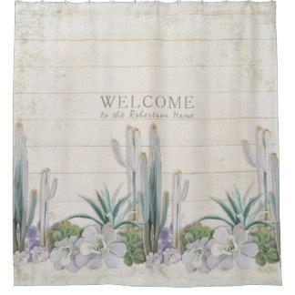Het Houten Succulente Westen van de Cactus van de Douchegordijn