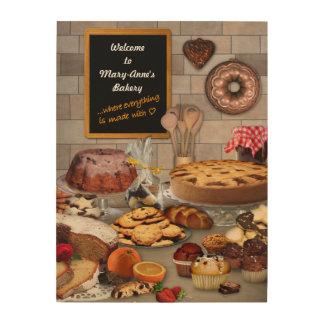 Het houten Teken van de Bakkerij met uw Naam Hout Afdruk