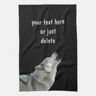 Het huilen grijze het portretdouane van de wolfs m theedoek