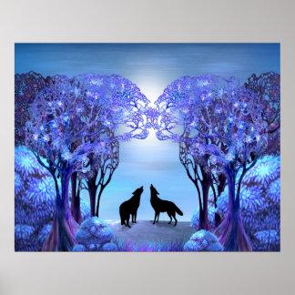 Het huilende Silhouet van de Wolf onder de Bomen Poster
