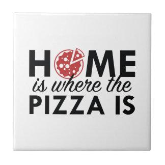 Het huis is waar de Pizza is Tegeltje Vierkant Small