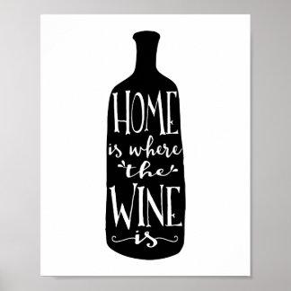 Het huis is waar de Wijn de Druk van de Kunst van Poster