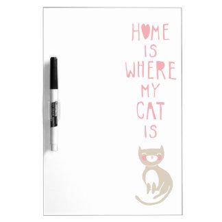 """Het """"huis is waar mijn kat """" is whiteboard"""