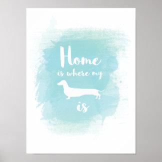 Het huis is waar mijn tekkel kalligrafie is poster