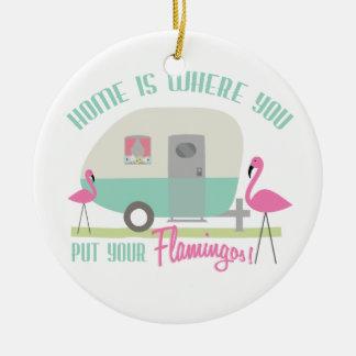 Het huis is waar u Uw Ornament van Flamingo's zet