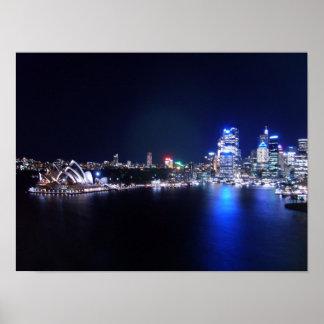 Het Huis van de Opera van Sydney bij Nacht Poster