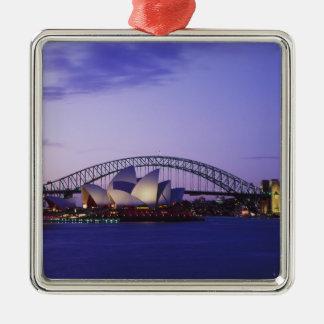 Het Huis van de Opera van Sydney en Haven, Nieuw Zilverkleurig Vierkant Ornament
