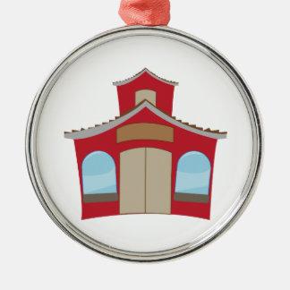 Het Huis van de school Zilverkleurig Rond Ornament