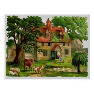Het Huis van het boerderij met Kippen Briefkaart