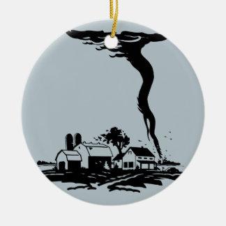 Het Huis van het Boerderij van de Jager van het Rond Keramisch Ornament