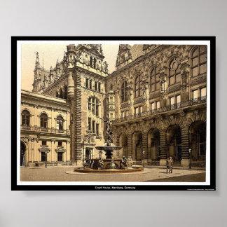 Het Huis van het Hof, Hamburg, Duitsland Poster
