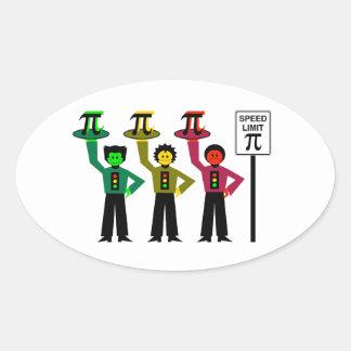 Het humeurige Trio van het Rood licht naast het Ovale Sticker