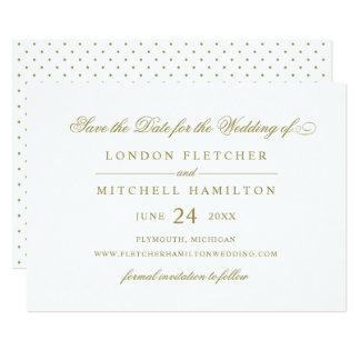 Het huwelijk bewaart de Datum | Gouden Klassieke 12,7x17,8 Uitnodiging Kaart