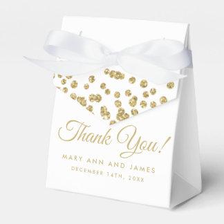 Het huwelijk dankt u Gouden Faux schittert het Wit Bedankdoosjes