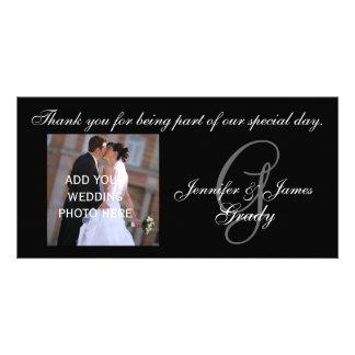 Het huwelijk dankt u Monogram G en Bericht Kaart
