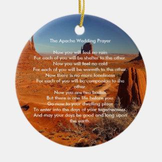 Het Huwelijk die van Apache gepersonaliseerd Gebed Rond Keramisch Ornament