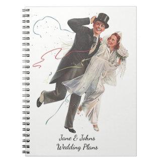 Het huwelijk plant het Modieuze Vintage Retro Boek Ringband Notitieboek