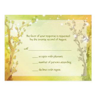 Het Huwelijk RSVP van de BosBomen van de lente Briefkaart