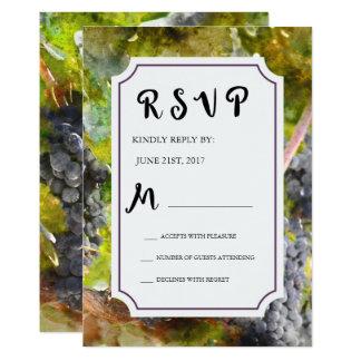 Het Huwelijk RSVP van de Waterverf van de druif en Kaart