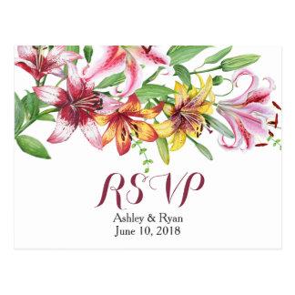 Het Huwelijk RSVP van het Boeket van de Bloem van Briefkaart