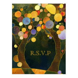Het Huwelijk RSVP van het Land van de Bomen van de Briefkaart