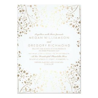 Het Huwelijk van de Adem van de gouden en Witte 12,7x17,8 Uitnodiging Kaart