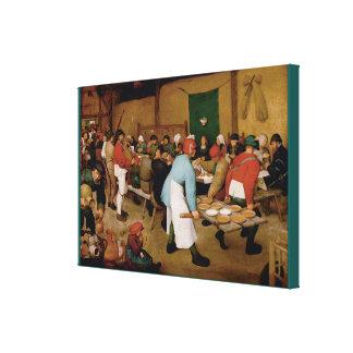 Het huwelijk van de Boer door Pieter Bruegel Ouder Canvas Afdrukken