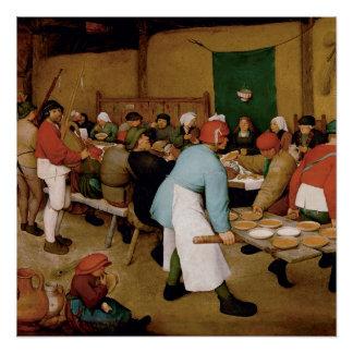 Het huwelijk van de Boer door Pieter Bruegel Ouder Poster