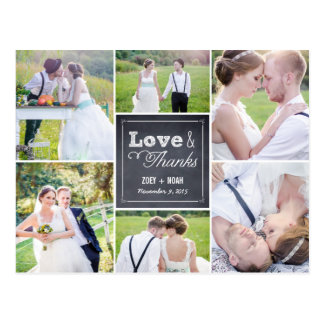 Het Huwelijk van de Collage van Chalked dankt u Briefkaart