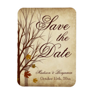 Het Huwelijk van de herfst bewaart de Datum Rechthoek Magneten