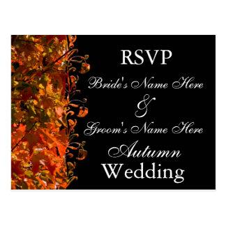 Het Huwelijk van de Herfst van de Uitnodiging RSVP Briefkaart