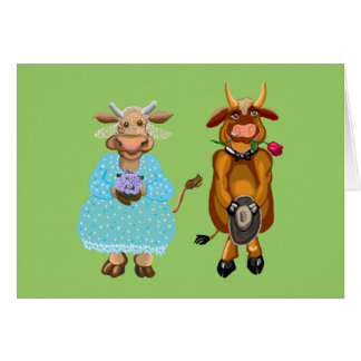 Het huwelijk van de koe en van de stier wenskaart