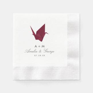 Het Huwelijk van de Kranen van de origami Wegwerp Servet