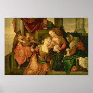 Het huwelijk van de Mysticus van Heilige Catherine Poster
